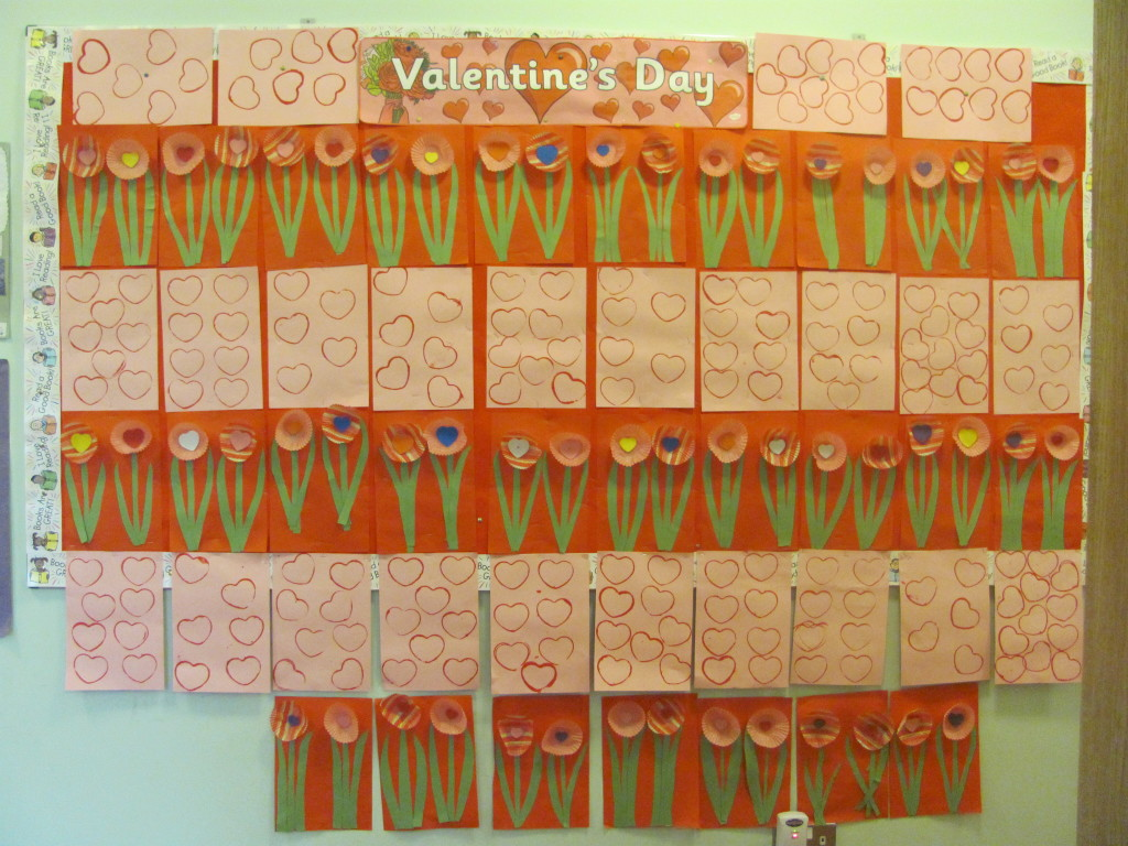 Valentine's art by 3rd & 4th class.