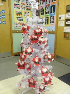 These Santa decorations were made by junior and senior infants to sell at the Christmas Fair.