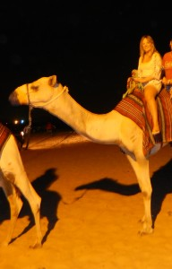 Kermit's first camel ride.
